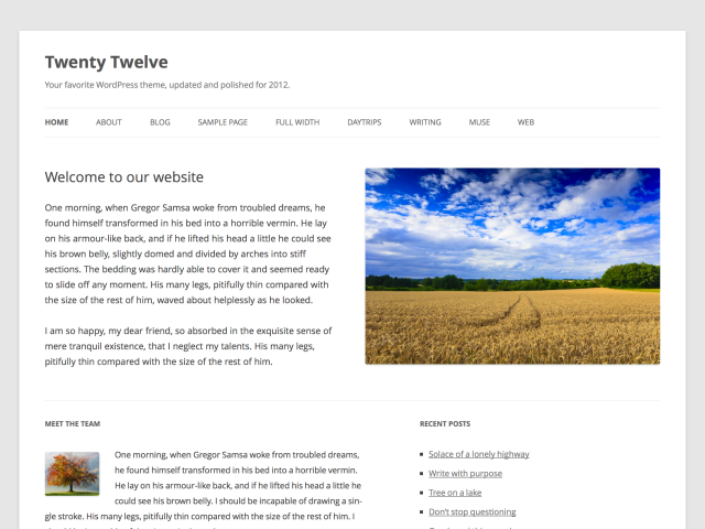 twelve show home Wordpress 3.5 is here